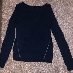 Navy distressed sweater